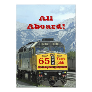 65th Birthday Party Invitation Railroad Train