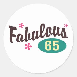 65th Birthday Round Sticker