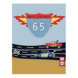 65th Birthday Stock Car Racing Theme Postcard