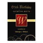 65th Birthday Surprise Party - Elegant Monogram 13 Cm X 18 Cm Invitation Card