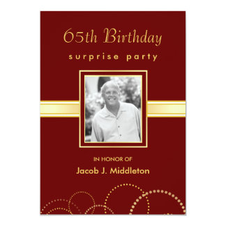 65th Birthday Surprise Party - Photo Optional Custom Invitation