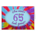 65th birthday tie dye frame card