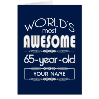 65th Birthday Worlds Best Fabulous Dark Blue Greeting Card