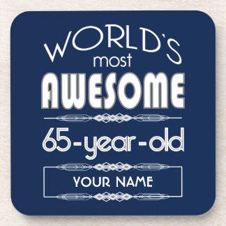 65th Birthday Worlds Best Fabulous Dark Blue Drink Coasters