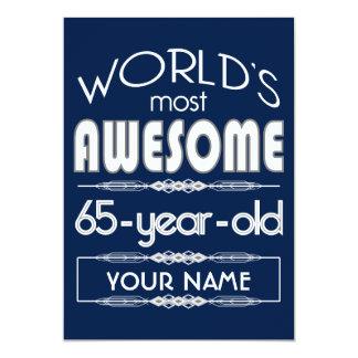 65th Birthday Worlds Best Fabulous Dark Blue 5x7 Paper Invitation Card