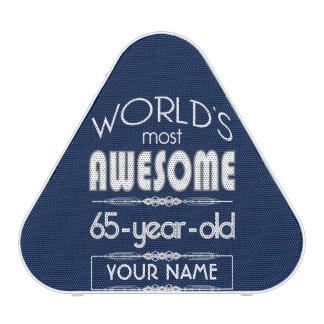 65th Birthday Worlds Best Fabulous Dark Blue Speaker
