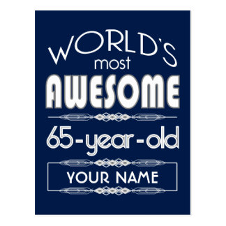 65th Birthday Worlds Best Fabulous Dark Blue Postcard