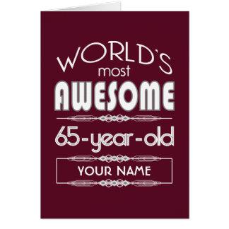 65th Birthday Worlds Best Fabulous Dark Red Card