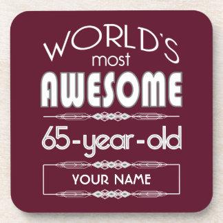65th Birthday Worlds Best Fabulous Dark Red Beverage Coaster