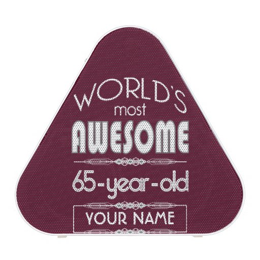 65th Birthday Worlds Best Fabulous Dark Red Maroon Bluetooth Speaker