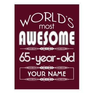 65th Birthday Worlds Best Fabulous Dark Red Postcards