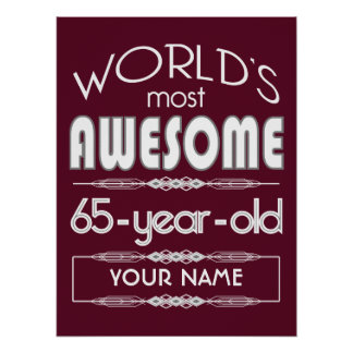 65th Birthday Worlds Best Fabulous Dark Red Print