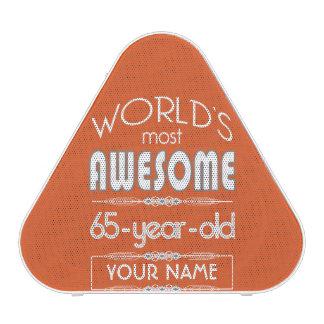 65th Birthday Worlds Best Fabulous Flame Orange Speaker