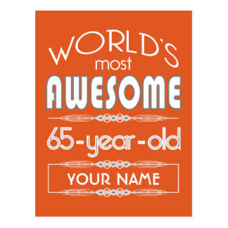 65th Birthday Worlds Best Fabulous Flame Orange Post Cards