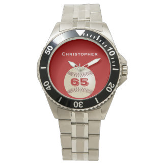 65th Birthday Wrist Watch, Personalized, Baseball Wrist Watch