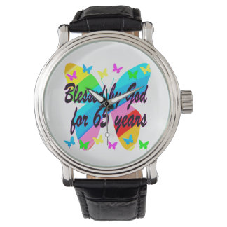 65TH BLESSED BY GOD BUTTERFLY DESIGN WRIST WATCH