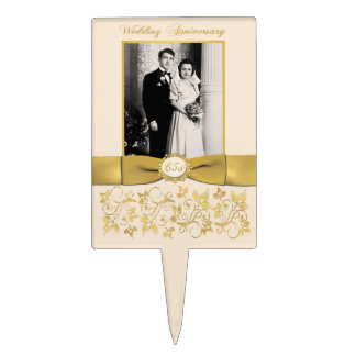 65th Wedding Anniversary Cake Pick with Photo