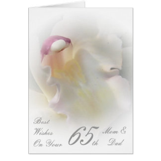 65th Wedding Anniversary Mom & Dad White Orchid Greeting Card