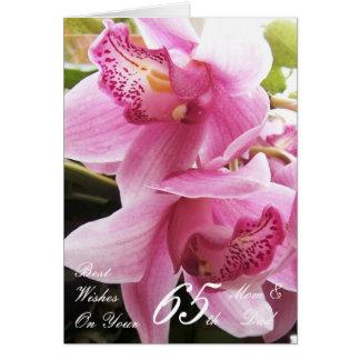 65th Wedding Anniversary Mum & Dad Pink Orchids Card