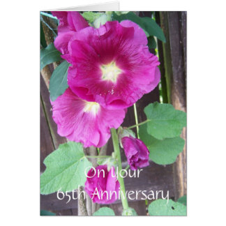 65th Wedding Anniversary Purple Hollyhocks Card