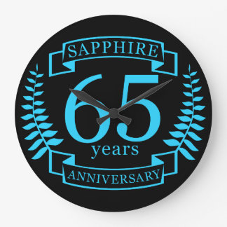 65th Wedding ANNIVERSARY SAPPHIRE Large Clock