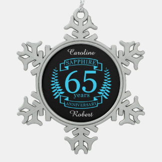 65th Wedding ANNIVERSARY SAPPHIRE Snowflake Pewter Christmas Ornament