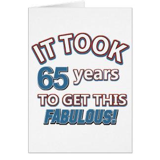 65th year birthday designs card