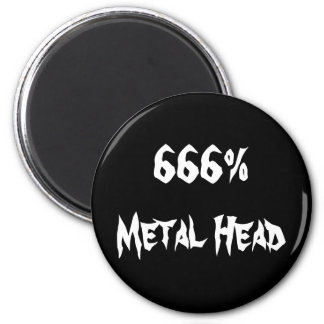 666%Metal Head 6 Cm Round Magnet