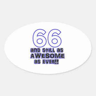66 birthday design oval sticker