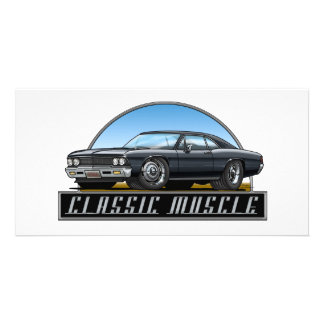 66 Chevelle Black Photo Greeting Card