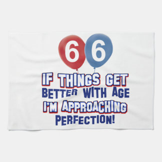66th year old birthday design tea towel
