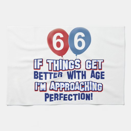 66th year old birthday design hand towels