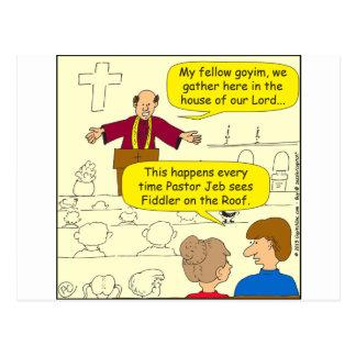 673 Pastor goes to Fiddler Cartoon Postcard