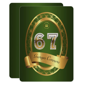 67th,birthday party woman man,elegant color card