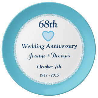 68th Wedding Anniversary BLUE Background A68A Porcelain Plate