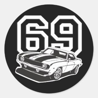 69 Camaro Classic Round Sticker