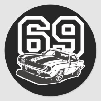 69 Camaro Round Sticker
