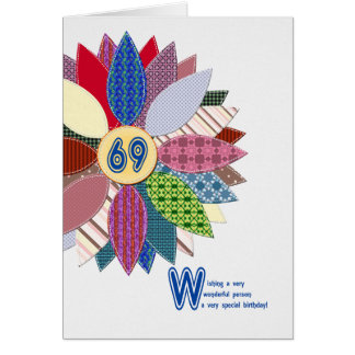 69 years old, stitched flower birthday card