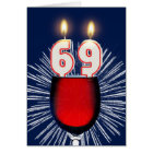 69th Birthday with wine and candles Card