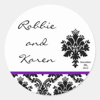 "6 - 3"" Favor Stickers Black Purple Damask Lace"
