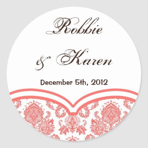 """6 - 3"""" Favor Stickers Coral Pink White Damask Lace"""