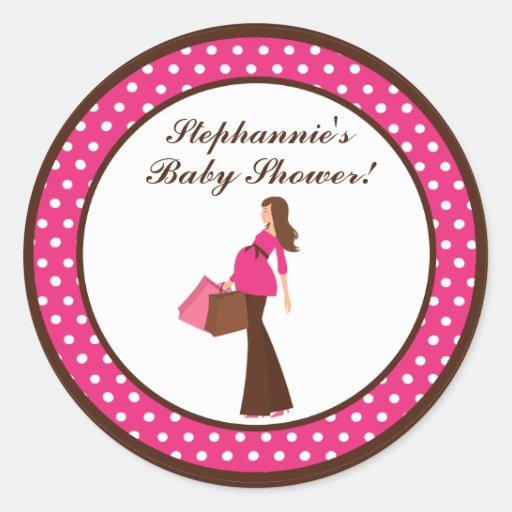 "6 - 3""  Favor Stickers Pink Mod Mom Polka Dots"