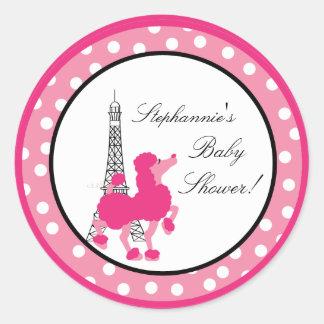 6 - 3 Favor Stickers Pink Poodle Paris Eiffel
