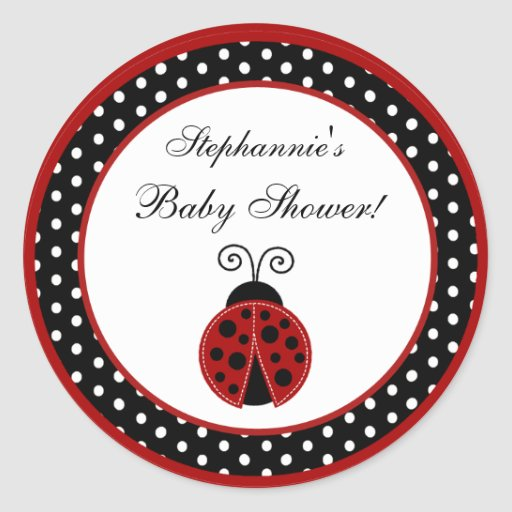 """6 - 3""""  Favor Stickers Red Ladybug"""