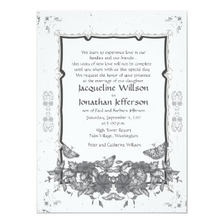 "6.5 x 8.75"" Grey Vintage Flowers Butterflies Invite"