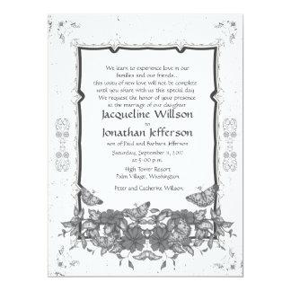"6.5 x 8.75"" Grey Vintage Flowers Butterflies 17 Cm X 22 Cm Invitation Card"
