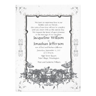 6 5 x 8 75 Grey Vintage Flowers Butterflies Invite