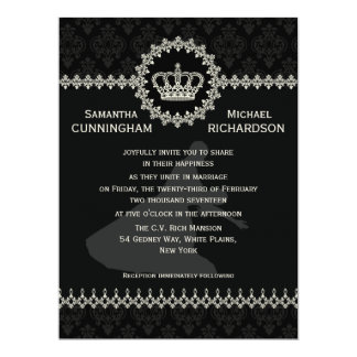 """*6.5 x 8.75""""  Modern Laces Crown Wedding Passport Personalized Invitations"""
