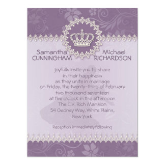 """6.5 x 8.75""""  Pink Floral  Crown Wedding Passport Personalized Announcements"""