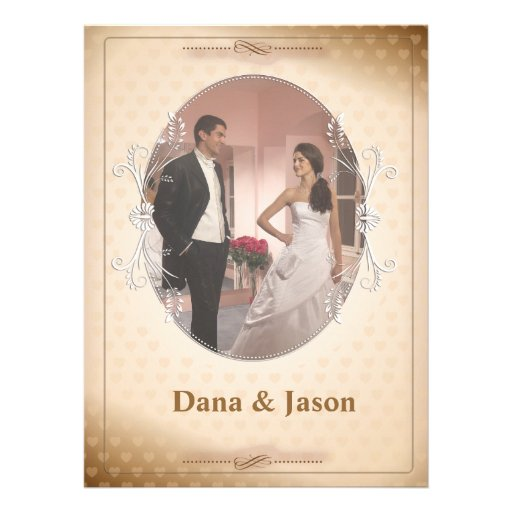 "6.5 x 8.75"" Vintage Brown Photo Wedding Invitation"